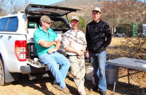 Johan Steyl, Tertius Kohn and Jams Peart taking a break at their mobile muscle biopsy station